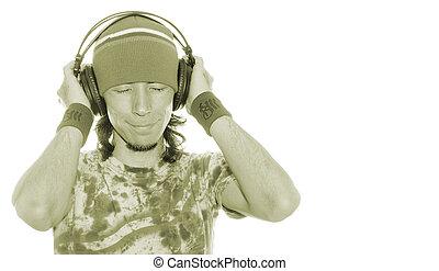 desfrutando, seu, música