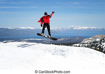 desfrutando, snowboarder, vista