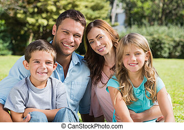 desfrutando, sol, família