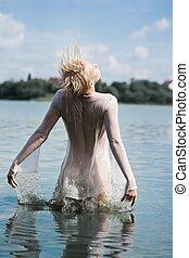 desfrutando, summer's, água