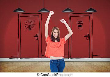 desgastar, adolescente, dela, imagem composta, braços, enquanto, rir, casual, levantamento, roupas