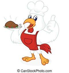 desgastar, alimento, cozinheiro, carregar, galinha, chapéu, caricatura