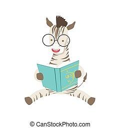 desgastar, animais, biblioteca, óculos, personagem, bookworm, jardim zoológico, livro, ilustração, cobrança, parte, leitura, sorrindo, caricatura, zebra