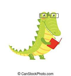 desgastar, animais, biblioteca, personagem, bookworm, jardim zoológico, crocodilo, livro, ilustração, cobrança, parte, leitura, sorrindo, caricatura, óculos