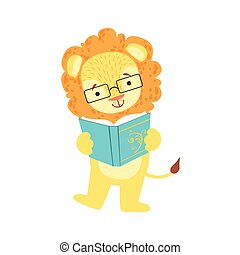 desgastar, animais, biblioteca, personagem, bookworm, jardim zoológico, leão, livro, ilustração, cobrança, parte, leitura, sorrindo, caricatura, óculos