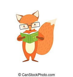 desgastar, animais, biblioteca, personagem, raposa, bookworm, jardim zoológico, livro, ilustração, cobrança, parte, leitura, sorrindo, caricatura, óculos