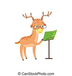desgastar, animais, biblioteca, personagem, veado, bookworm, jardim zoológico, livro, ilustração, cobrança, parte, leitura, sorrindo, caricatura, óculos