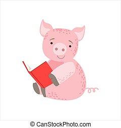 desgastar, animais, biblioteca, porca, personagem, bookworm, jardim zoológico, livro, ilustração, cobrança, parte, leitura, sorrindo, caricatura, óculos
