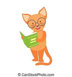 desgastar, animais, bookworm, gato, óculos, personagem, ilustração, jardim zoológico, livro, biblioteca, cobrança, parte, leitura, sorrindo, caricatura, vermelho