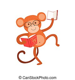 desgastar, animais, macaco, biblioteca, personagem, bookworm, jardim zoológico, livro, ilustração, cobrança, parte, leitura, sorrindo, caricatura, óculos