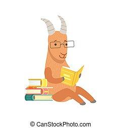 desgastar, animais, personagem, bookworm, jardim zoológico, caricatura, livro, ilustração, cobrança, cabra, parte, leitura, sorrindo, biblioteca, óculos