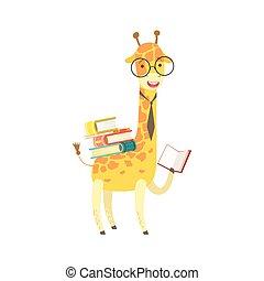 desgastar, animais, personagem, bookworm, jardim zoológico, livro, girafa, caricatura, ilustração, cobrança, parte, leitura, sorrindo, biblioteca, óculos