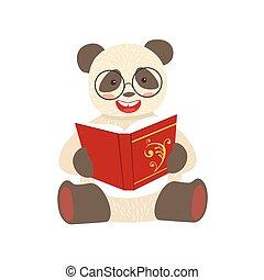 desgastar, animais, personagem, bookworm, jardim zoológico, panda, caricatura, livro, ilustração, cobrança, parte, leitura, sorrindo, biblioteca, óculos