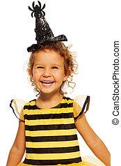 desgastar, aranha, abelha, traje, menina, chapéu, listrado