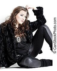 desgastar, assento mulher, jovem, preto veste