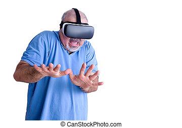 desgastar, assustado, realidade virtual, óculos, homem
