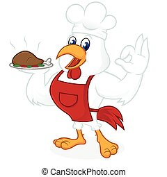 desgastar, avental, cozinheiro, galinha, chapéu, caricatura