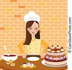 desgastar, avental, mulher, assando, cozinhar, meninas, cozinheiro, bolo, chapéu, cozinha