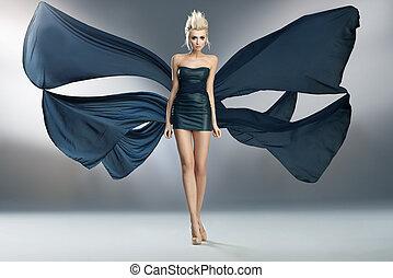 desgastar, azul, borboleta, semelhante, beleza, foto, jovem, espantoso, vestido