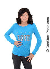 desgastar, azul, criança, camisa, t