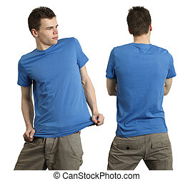 desgastar, azul, macho, camisa, em branco