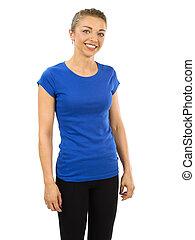 desgastar, azul, mulher, camisa, adelgaçar, em branco