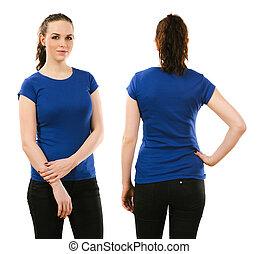 desgastar, azul, mulher, camisa, em branco, sorrindo