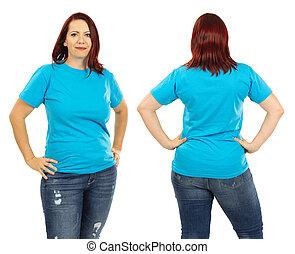 desgastar, azul, mulher, camisa, luz, em branco