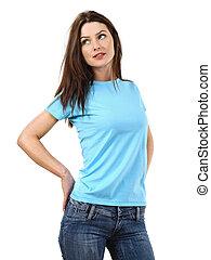 desgastar, azul, mulher, camisa, luz, em branco, excitado