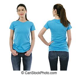 desgastar, azul, mulher, camisa, luz, morena, em branco