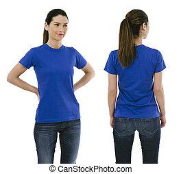 desgastar, azul, mulher, camisa, morena, em branco