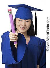 desgastar, azul, mulher segura, lápis, isolado, graduação, asiático, fundo, branca