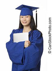 desgastar, azul, mulher segura, vestido, isolado, graduação, computador, asiático, fundo, branca