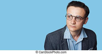 desgastar, azul, na moda, isolado, sujeito, eyeglasses., bonito