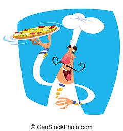 desgastar, bandeja, servindo, caricatura, cozinheiro, paleto, alto, branca, feliz, chapéu, sorrindo, pizza