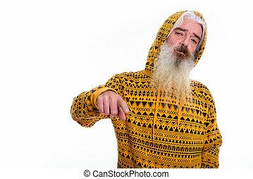desgastar, barbudo, tiro, apontar, enquanto, estúdio, hoodie, homem sênior