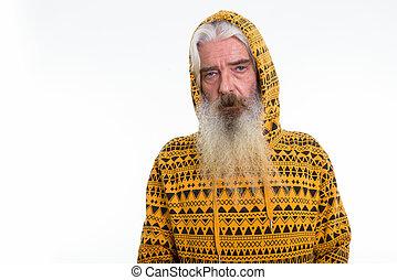 desgastar, barbudo, tiro, estúdio, hoodie, homem sênior