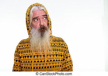 desgastar, barbudo, tiro, pensando, enquanto, estúdio, hoodie, homem sênior