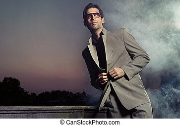 desgastar, bonito, óculos de sol, homem