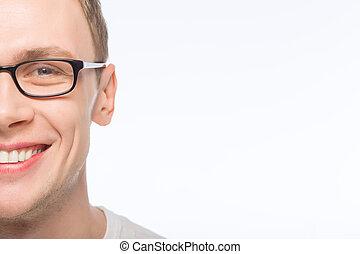 desgastar, bonito, glasses., homem