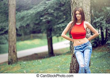 desgastar, calças brim, floresta, femininas