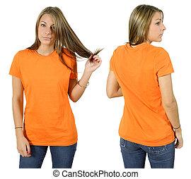 desgastar, camisa alaranjada, femininas, em branco