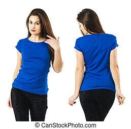 desgastar, camisa azul, em branco, excitado, senhora