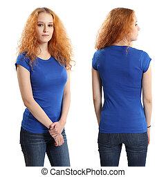 desgastar, camisa azul, femininas, bonito, em branco
