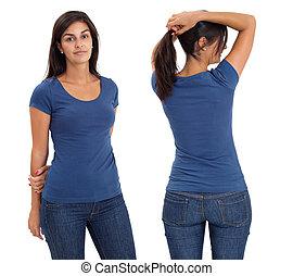 desgastar, camisa azul, femininas, em branco