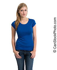 desgastar, camisa azul, jovem, loura, em branco