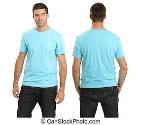 desgastar, camisa azul, luz, em branco, macho