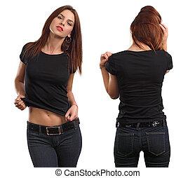 desgastar, camisa, fêmea preta, em branco, excitado