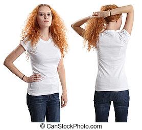 desgastar, camisa, femininas, bonito, em branco, branca