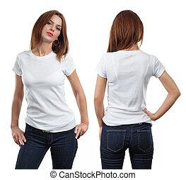 desgastar, camisa, femininas, em branco, excitado, branca